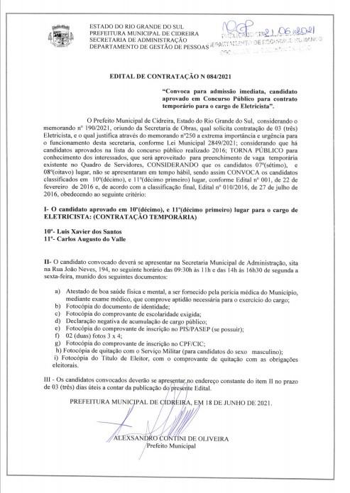 Edital de contratação nº 084-2021