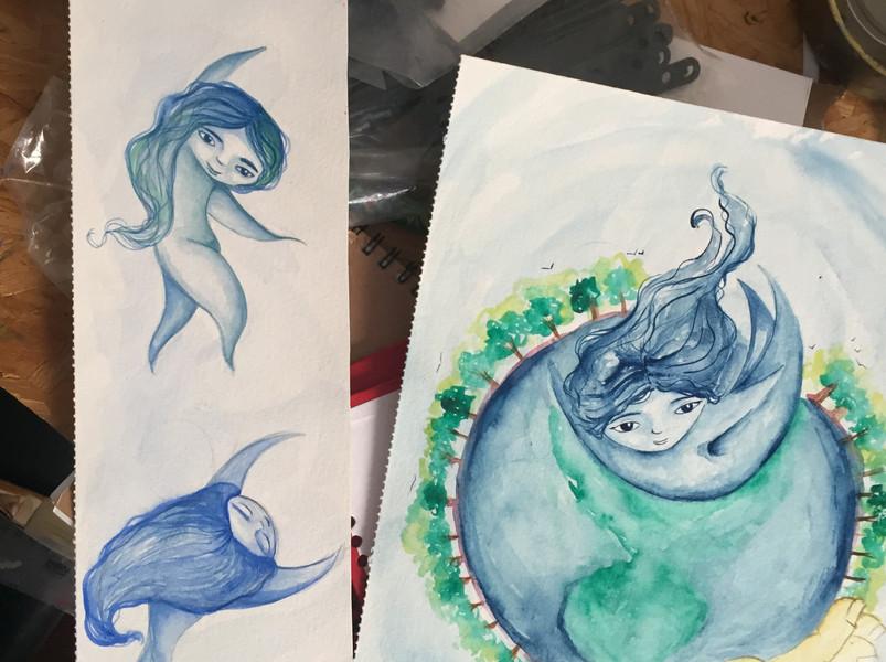 Ilustração para o livro Somos Àgua, 2019