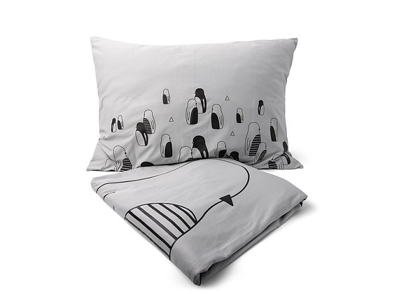סט מצעים למיטת יחיד/ נוער- אפור זוג פינגווינים