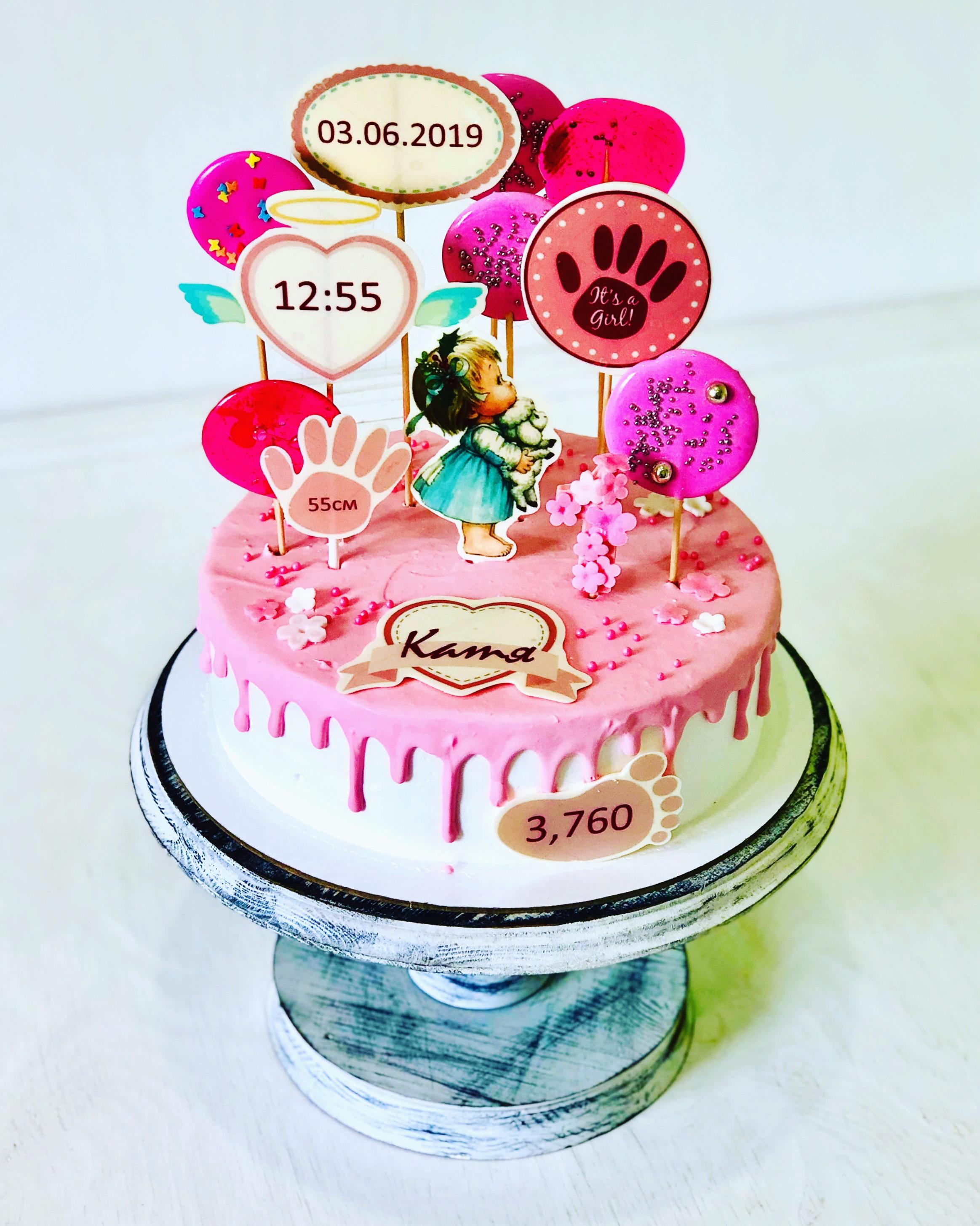 Торт с топперами метрика