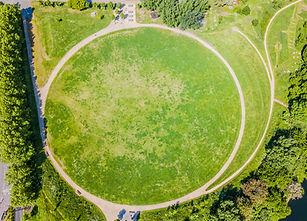 Aerial shot of Three Mills Green