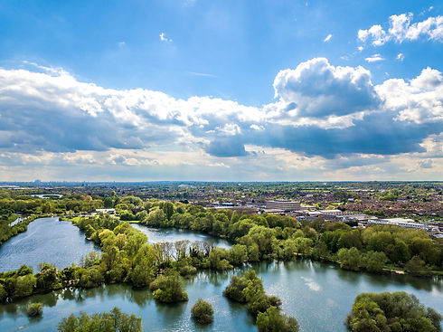 Aerial view of River Lee Country Park