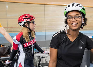 Track cyclists in track centre