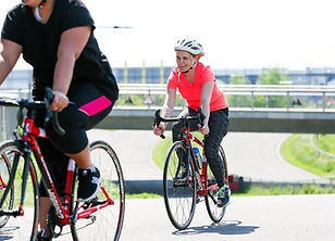 Women cycling the road circuit