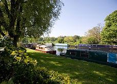 Boats moored along the river bank