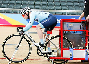 Track cyclist in start gate