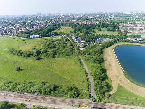 Aerial shot of Walthamstow Marshes