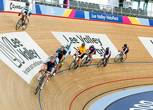 Group of track cyclists