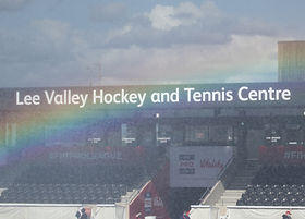 Rainbow over the hockey stand at Lee Valley Hockey and Tennis Centre