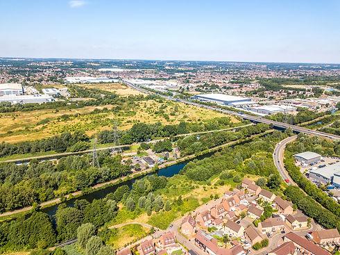 Aerial view of Gunpowder Park and Rammey Marsh