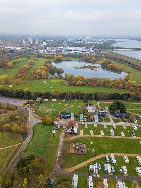 Aerial shot of campsite and golf course at Lee Valley Leisure Complex
