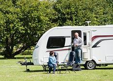 Caravan on a grass pitch