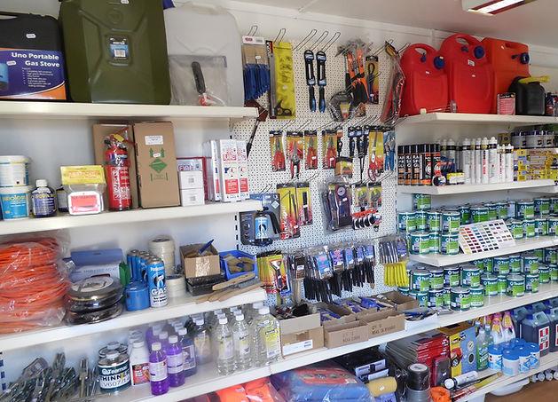 Stocked chandlery shelves