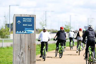 People cycling to BMX track