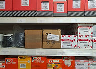 Shelves stocked with spare parts for boats