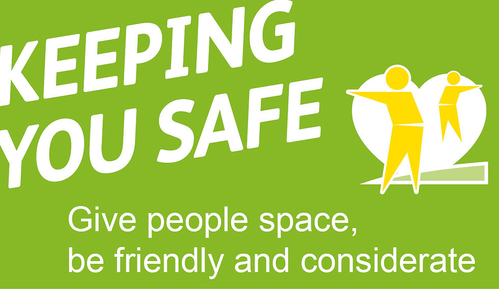 Keeping You Safe, give people space, be friendly and considerate graphic image