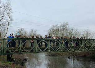 School group on bridge over River Lee