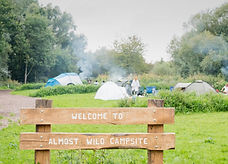 Tents pitched at Lee Valley Almost Wild Campsite