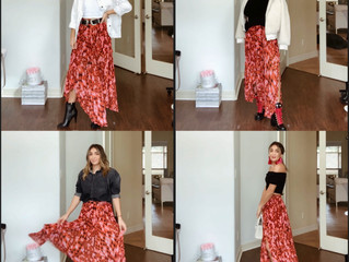 4 ways to wear a printed Midi skirt.