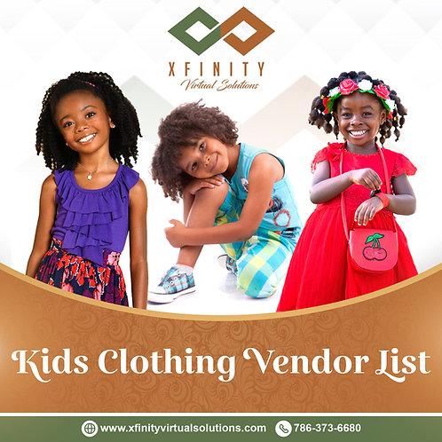 Kids Clothing Vendor List