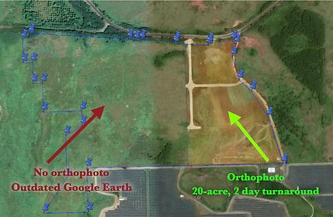 Orthophoto over Google Earth