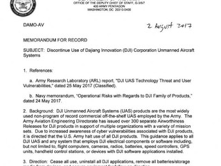 Security Alert - US Army Bans Chinese DJI Drones for Spying Concerns