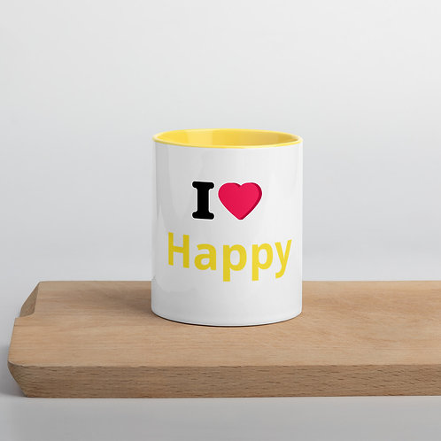 """I Heart Happy"" Mug with Color Inside"