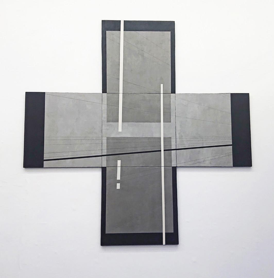 Follow the line, concrete on panel, acry