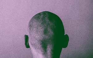 Grained skinhead angry man. Gloomy think
