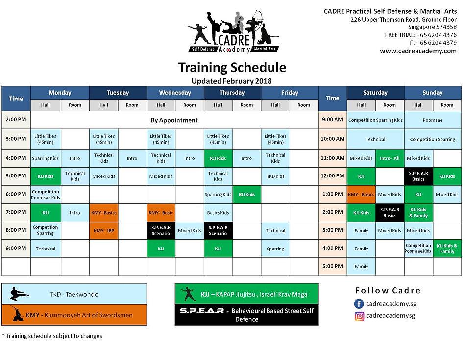 Cadre academy schedule