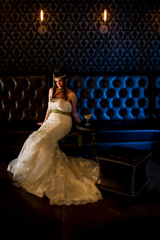Flapper Bride in the Circus Themed Speakeasy, Ryan Ao Portland Vintage Wedding Photographer