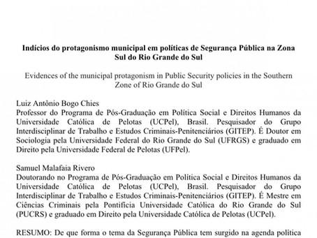 Indícios do protagonismo municipal em políticas de Segurança Pública na Zona Sul.