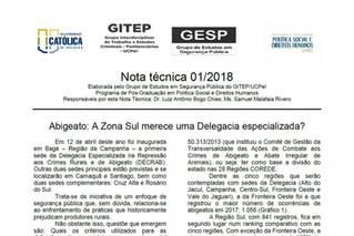 Nota técnica (Boletim Técnico) 01/2018 - Abigeato: A Zona Sul merece uma Delegacia especializada?