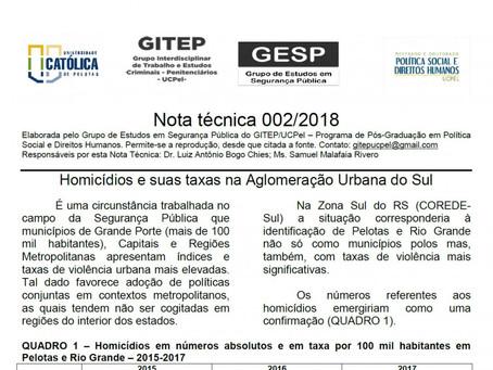 Boletim técnico 002/2018 - Homicídios e suas taxas na Aglomeração Urbana do Sul