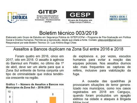 Boletim técnico 003/2019 - Assaltos a Bancos duplicam na Zona Sul entre 2016 e 2018