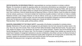 Gestão municipal da segurança pública