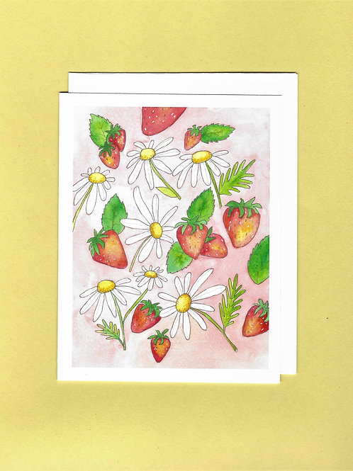 Strawberries and Daisies Card