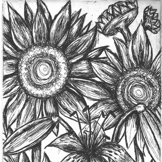 Sunflower and Tiger Lilies