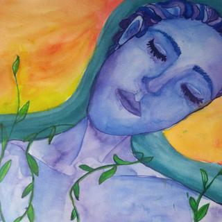 Lake Woman Watercolour