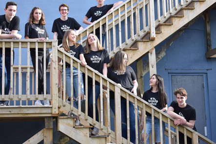 Group picture on the stairs. Let the Revolution Begin