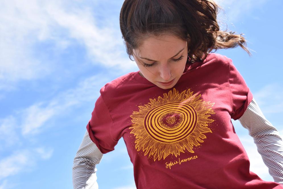 Kara in the Maroon Sun T-Shirt