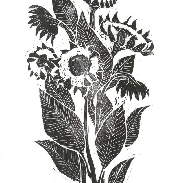 Sunflower Linocut