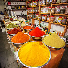 Various colored spices on the Mahane Yeh