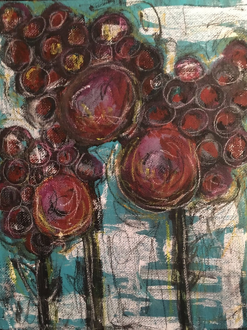 Abstract red and turquoise flowers