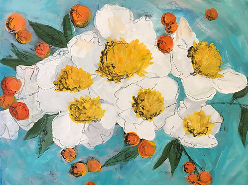White and yellow flowers on turquoise