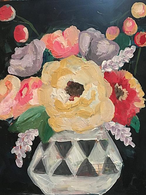 Colorful flowers in geo vase