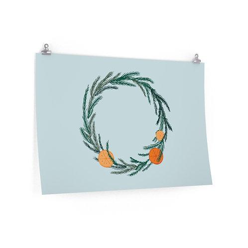 Winter Solstice Wreath on Snow Blue