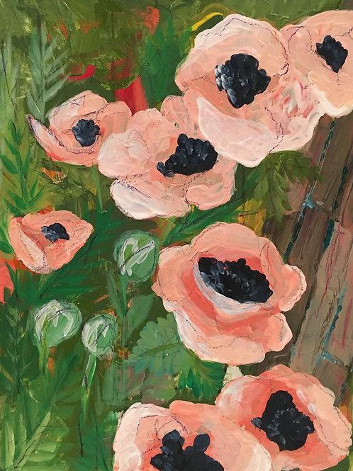Peach poppies