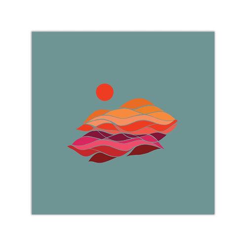 Sunset Vinyl Sticker - Misty Morning Teal
