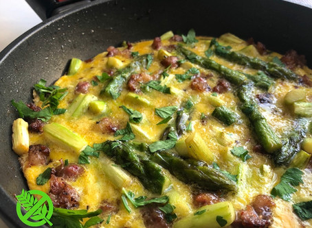 Frittata de Chorizo y Espárragos - Tortilla